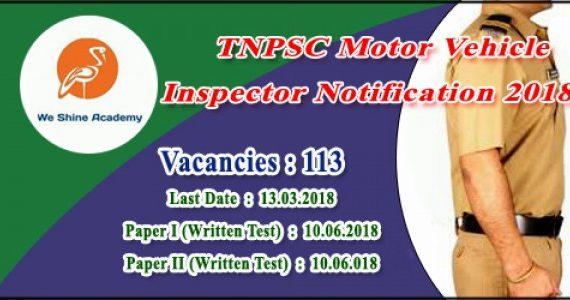 Tnpsc motor vehicle inspector notification 2018 we shine for Motor vehicle service notification