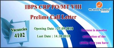 IBPS CRP PO/MT VIII Prelims Call Letter