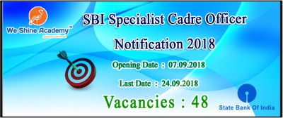 SBI Specialist Cadre Officer Notification 2018