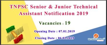 TNPSC Senior and Junior Technical Assistant Recruitment Notification